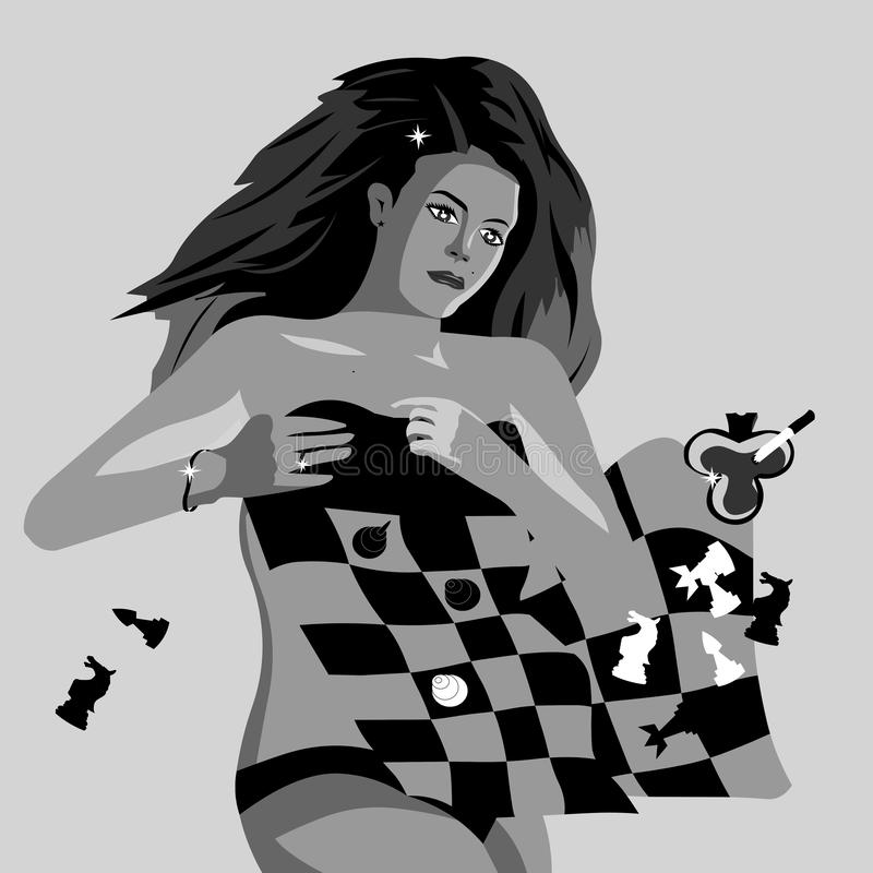 Vector lines. Girl lying under a blanket in the style of chess royalty free illustration