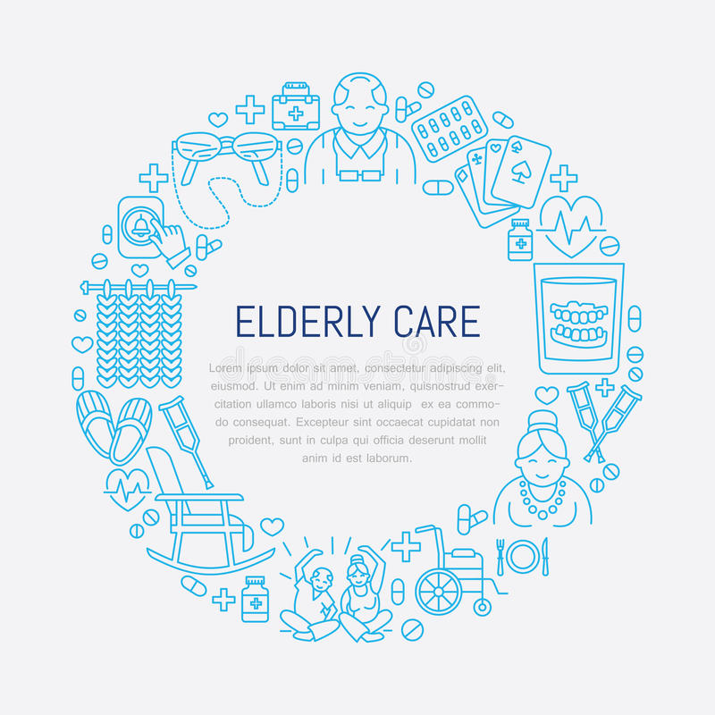 Vector a linha ícone de cuidado superior e idoso Molde médico do cartaz com ilustração das pessoas adultas, cadeira de rodas, laz ilustração stock