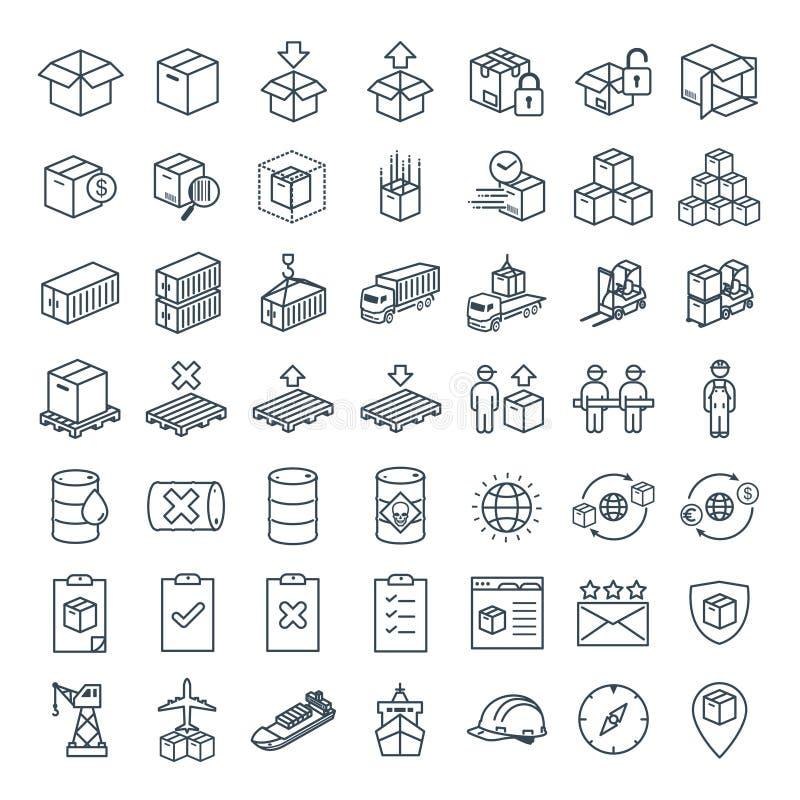 Vector a linha ícone para o comércio eletrônico, a logística, a importação & a exportação do negócio ilustração do vetor