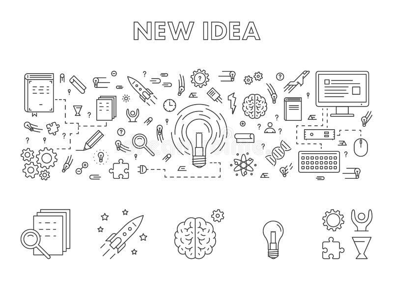 Vector a linha bandeira da Web do conceito de projeto para a ideia nova ilustração do vetor