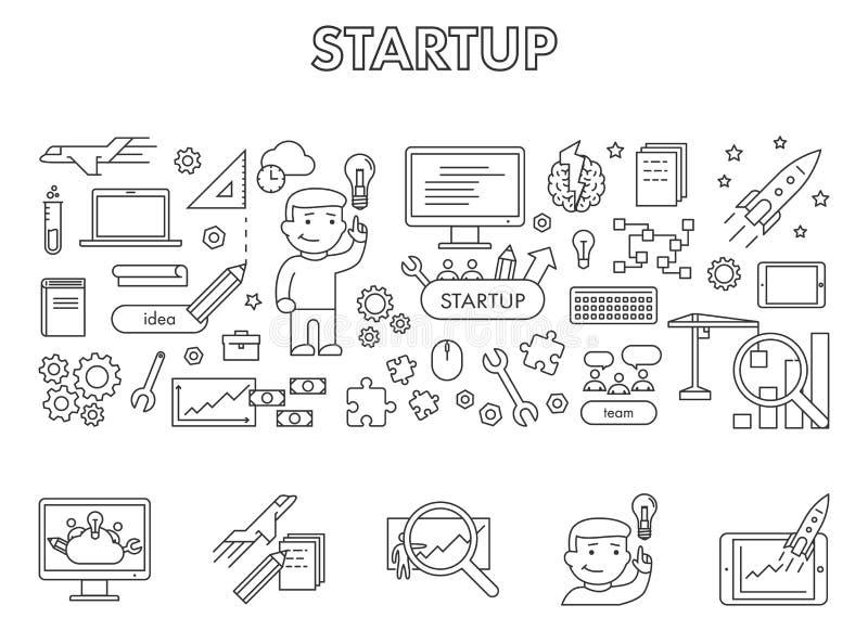 Vector a linha bandeira da Web do conceito de projeto para a partida ilustração stock