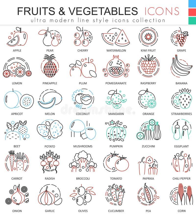 Vector a linha de cor ícones das frutas e legumes do esboço para apps e design web Ícones dos elementos do alimento das frutas e  ilustração royalty free