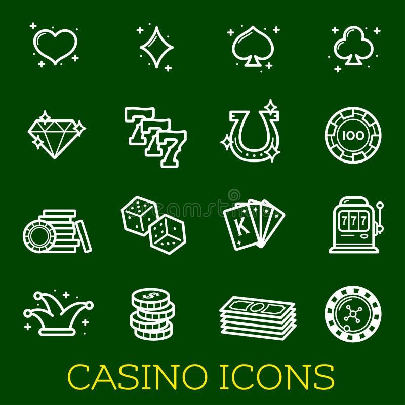 Vector a linha fina ícones de pôquer do casino que jogam ilustração do vetor