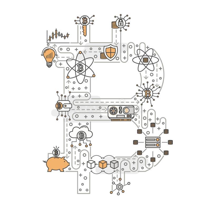 Vector a linha fina bandeira do cartaz do sinal do bitcoin da arte ilustração stock
