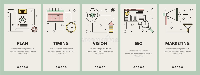 Vector a linha fina bandeiras lisas do vertical do conceito do projeto de design ilustração royalty free