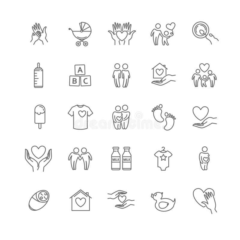 Vector a linha fina família e o grupo do ícone das crianças ilustração stock