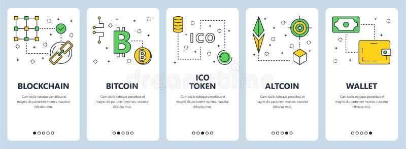 Vector a linha fina moderna bandeiras da Web do conceito do blockchain ilustração stock