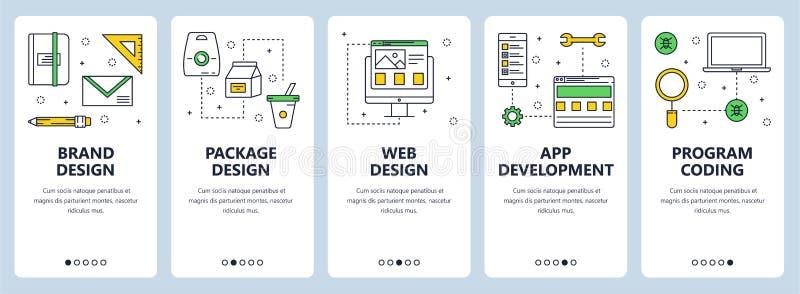 Vector a linha fina moderna bandeiras da Web do conceito de projeto do tipo ilustração stock