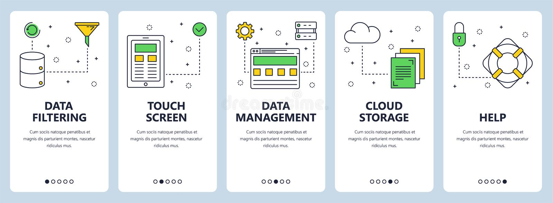 Vector a linha fina moderna bandeiras da Web do conceito da filtração de dados ilustração stock