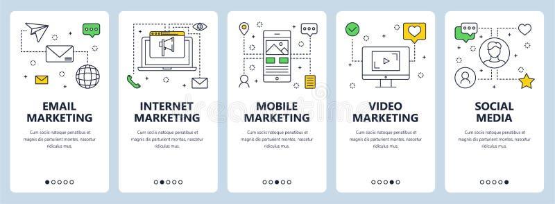 Vector a linha fina moderna bandeiras da Web do conceito do mercado ilustração stock