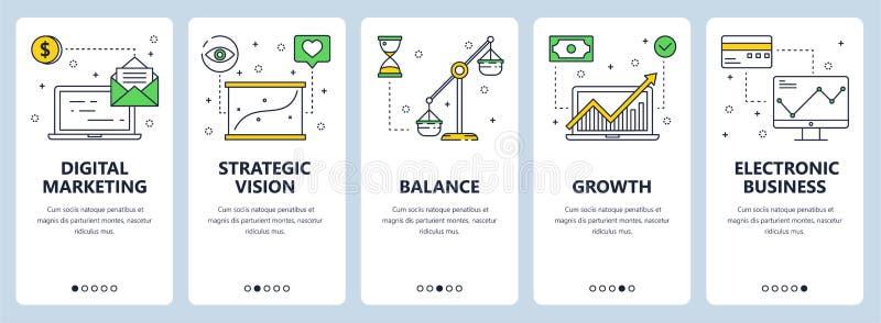 Vector a linha fina moderna bandeiras digitais da Web do conceito do mercado ilustração royalty free