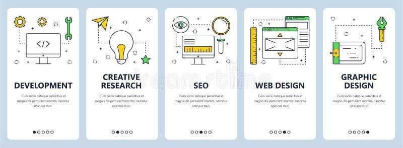 Vector a linha fina moderna bandeiras do conceito do desenvolvimento da Web ilustração royalty free