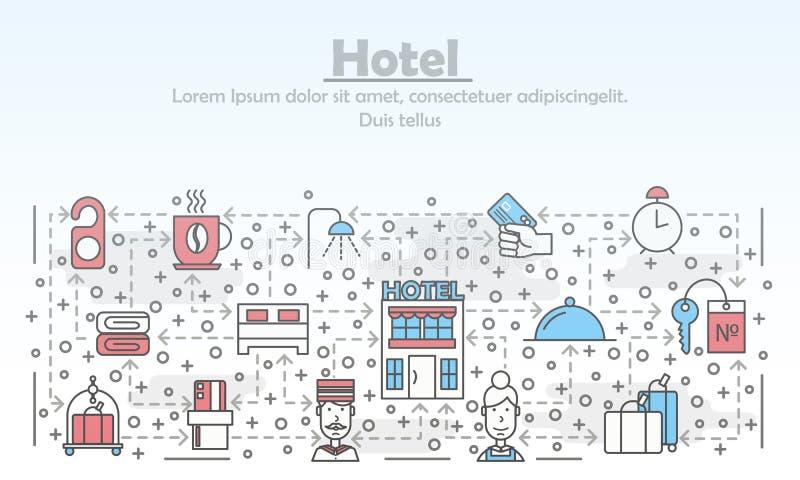 Vector a linha fina molde da bandeira do cartaz do hotel da arte ilustração royalty free