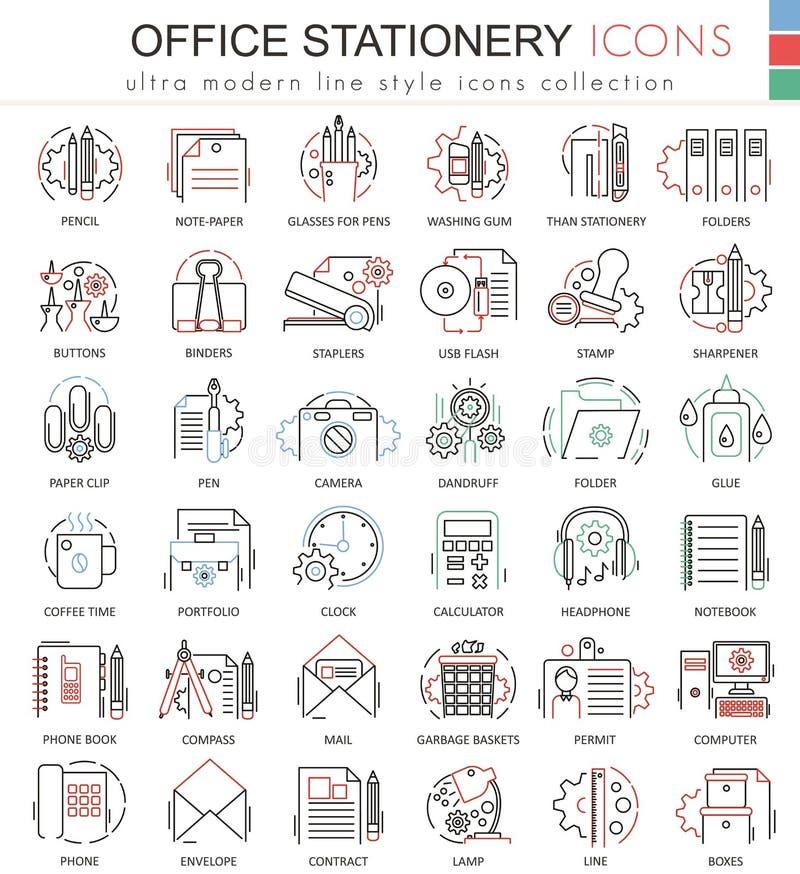 Vector a linha linha de cor vermelha ícones dos artigos de papelaria do escritório do esboço para apps e design web Ferramentas d ilustração do vetor