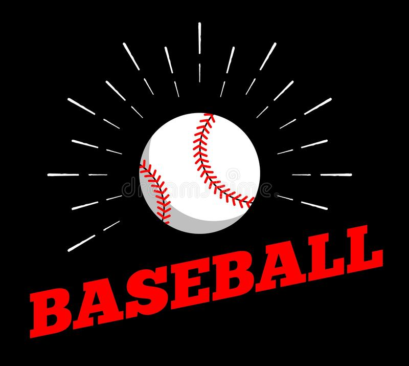 Vector a linha tirada arte do vintage da mão de cópia do burtst do sol do ícone do logotipo da bola do esporte do basebol ilustração stock