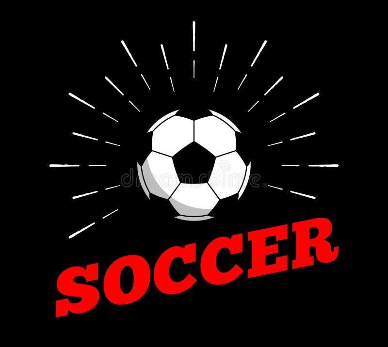 Vector a linha tirada arte do vintage da mão de cópia do burtst do sol do ícone do logotipo da bola do esporte do futebol do fute ilustração do vetor