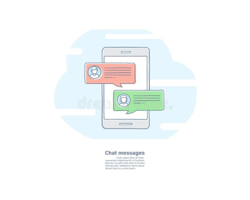 Vector a linha tirada mão ícone liso da ilustração da notificação das mensagens do bate-papo no smartphone sms na tela do telefon ilustração do vetor
