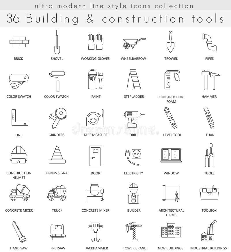Vector a linha ultra moderna ícones do esboço da construção civil para a Web e os apps ilustração stock