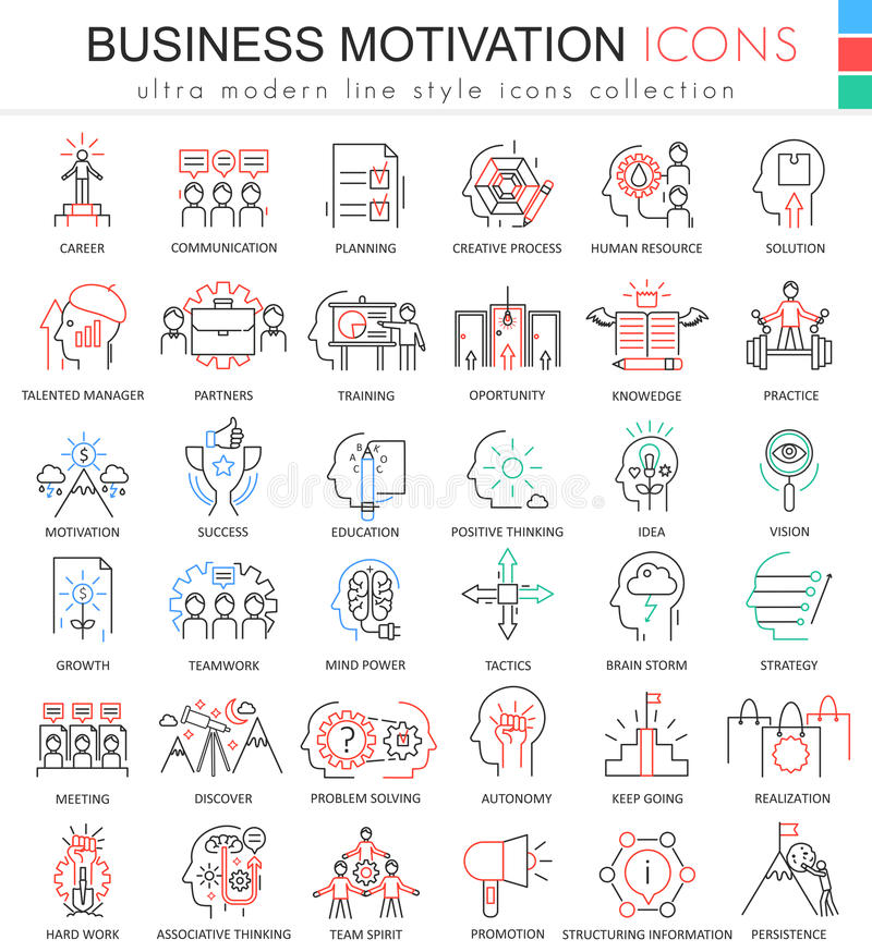 Vector a linha ultra moderna ícones do esboço da cor da motivação do negócio para apps e design web ilustração royalty free