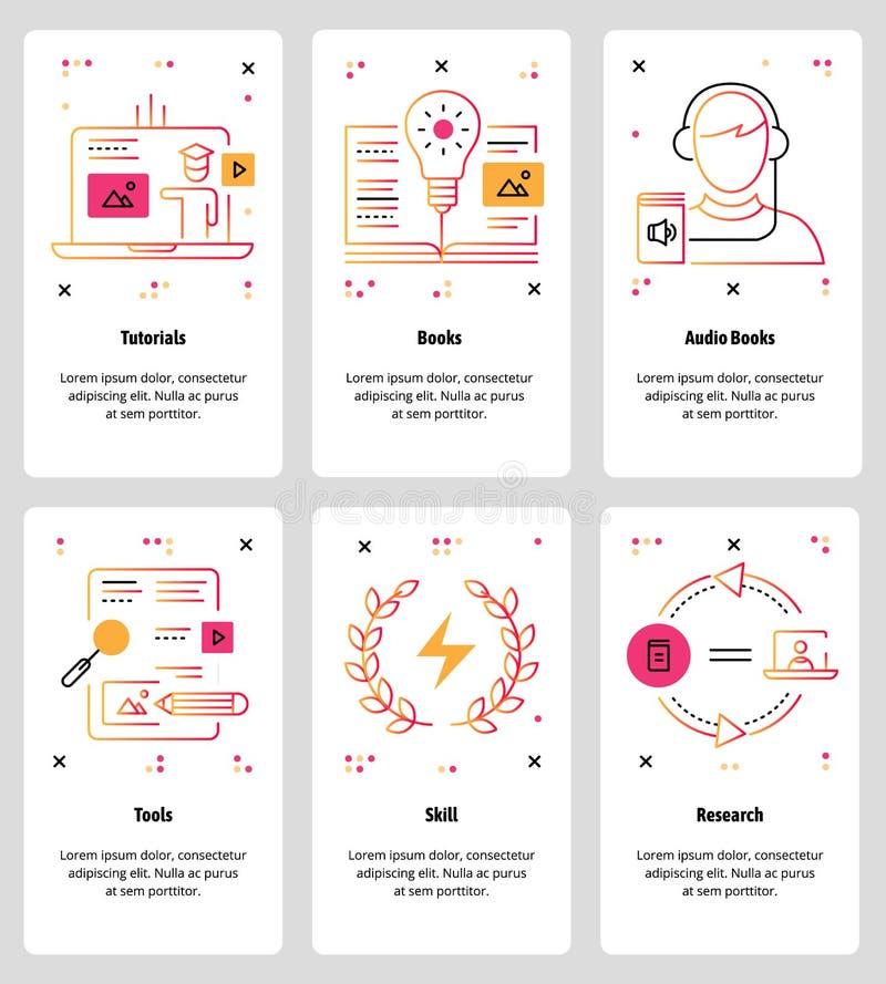 Vector a linha Web da arte e grupo móvel do molde do app ilustração do vetor