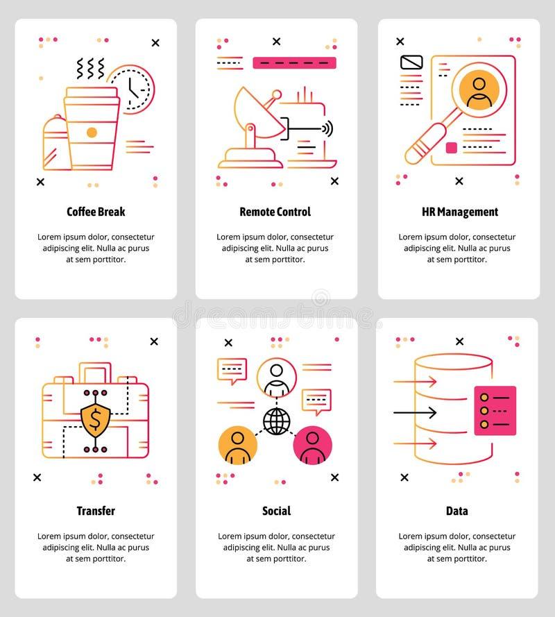 Vector a linha Web da arte e grupo móvel do molde do app ilustração royalty free