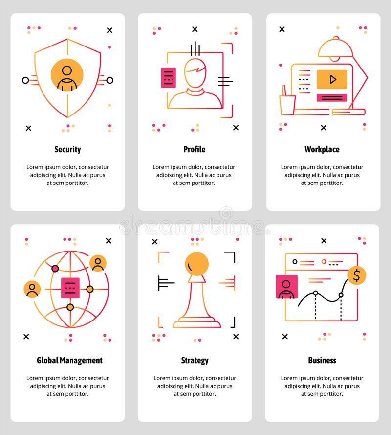 Vector a linha Web da arte e grupo móvel do molde do app ilustração stock