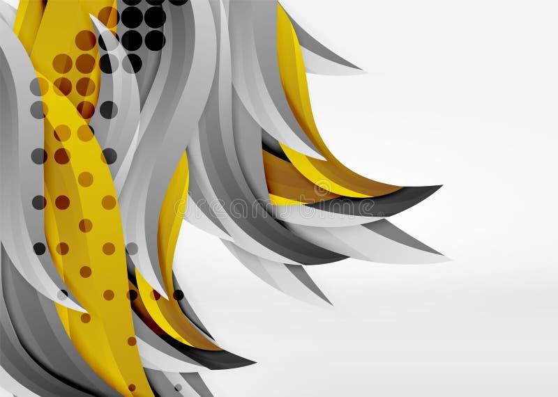 Vector linhas coloridas da onda no espaço 3d branco e cinzento ilustração royalty free