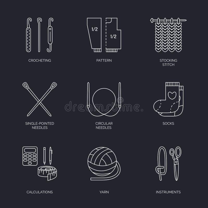Vector Linie Ikonensammlung des Strickens und häkeln Sie Handgemachte Elemente - Garn, Stricknadel, strickender Haken, Stift lizenzfreie abbildung
