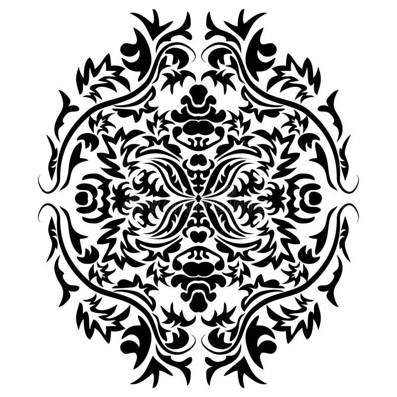 Vector Linie Kunstdekor, aufwändige Vignette für Designschablone Ostartelement Blumendekor des schwarzen Entwurfs Monolinie vektor abbildung