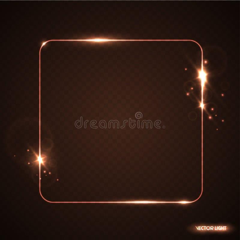 Vector Linie Rahmen des goldenen Glühens mit Funken und Scheinwerfer Glänzende Rechteckfahne Lichtdurchlässiger Lichteffekt des V vektor abbildung