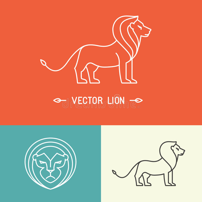 Vector lion logo template in trendy linear style royalty free illustration