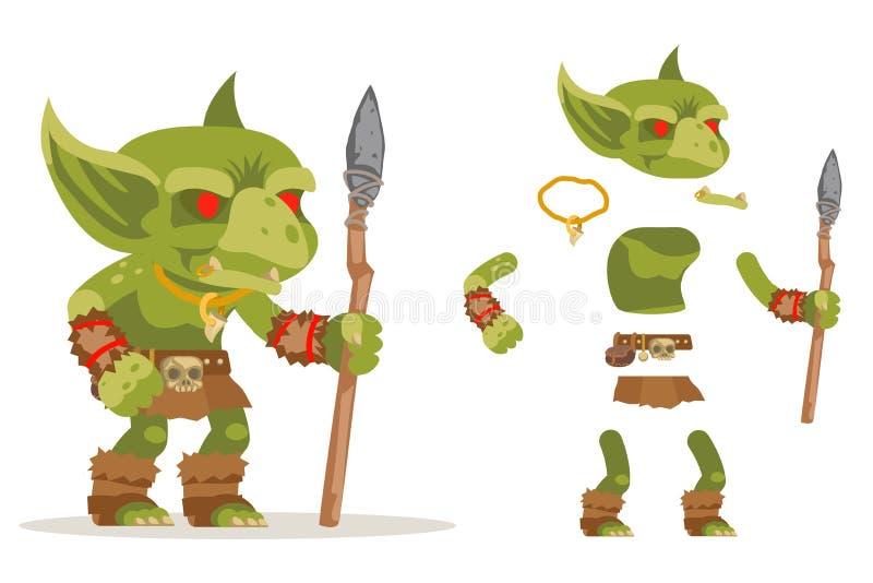 Vector listo acodado carácter medieval malvado del carácter de la animación del juego del RPG de la acción de la fantasía del sub stock de ilustración