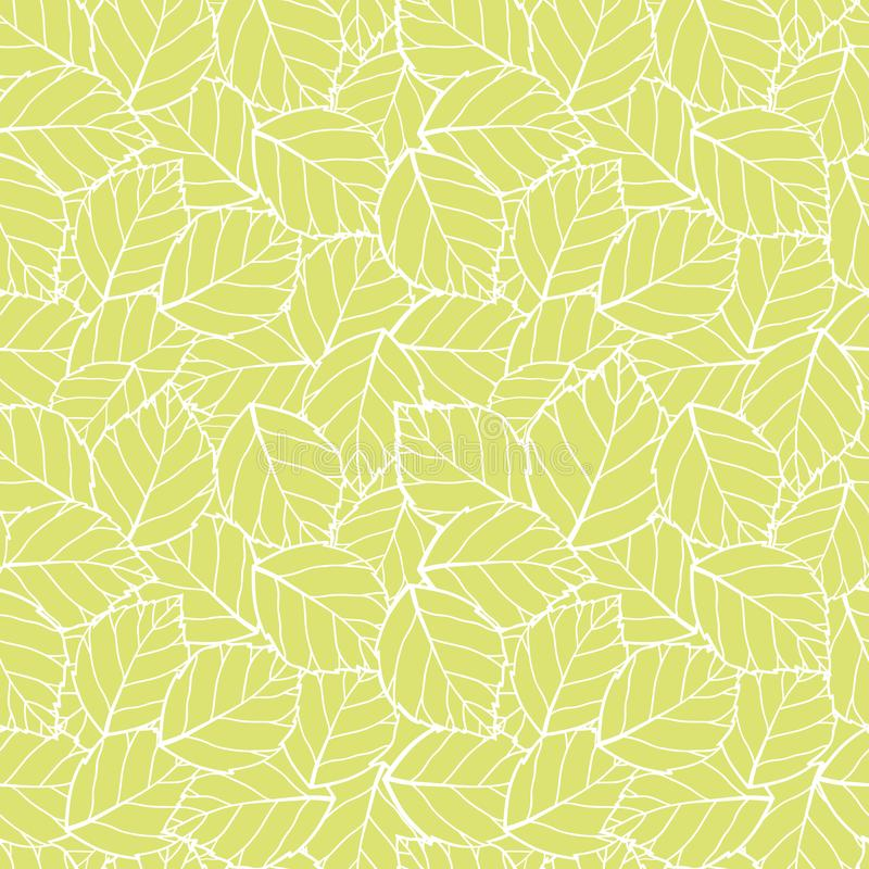 Vector lite green leaves seamless pattern background. Perfect for fabric, scrapbooking, wallpaper projects royalty free illustration