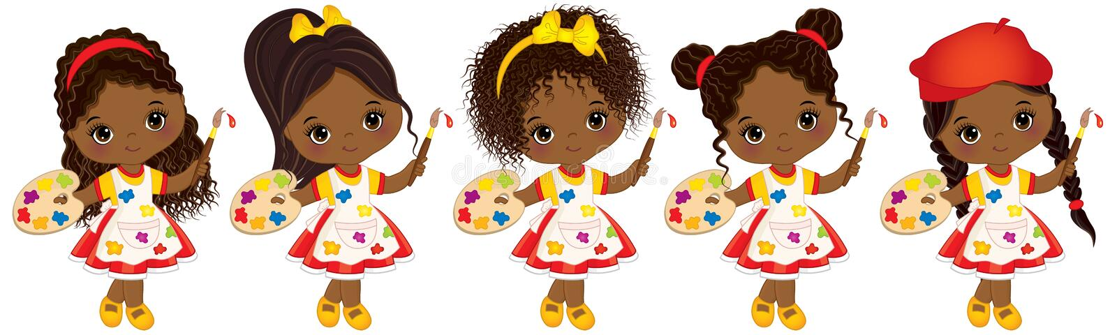 Vector cute Little African American Artists with Palettes and Paint Brushes Vector Little African American Girls. Vector little African American artists with vector illustration