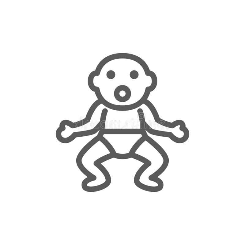 Little baby in diapers line icon. Vector little baby in diapers line icon. Symbol and sign illustration design. Isolated on white background vector illustration
