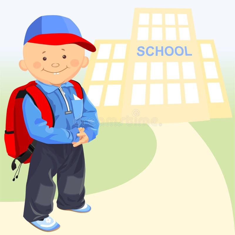 vector little boy goes to school stock photo