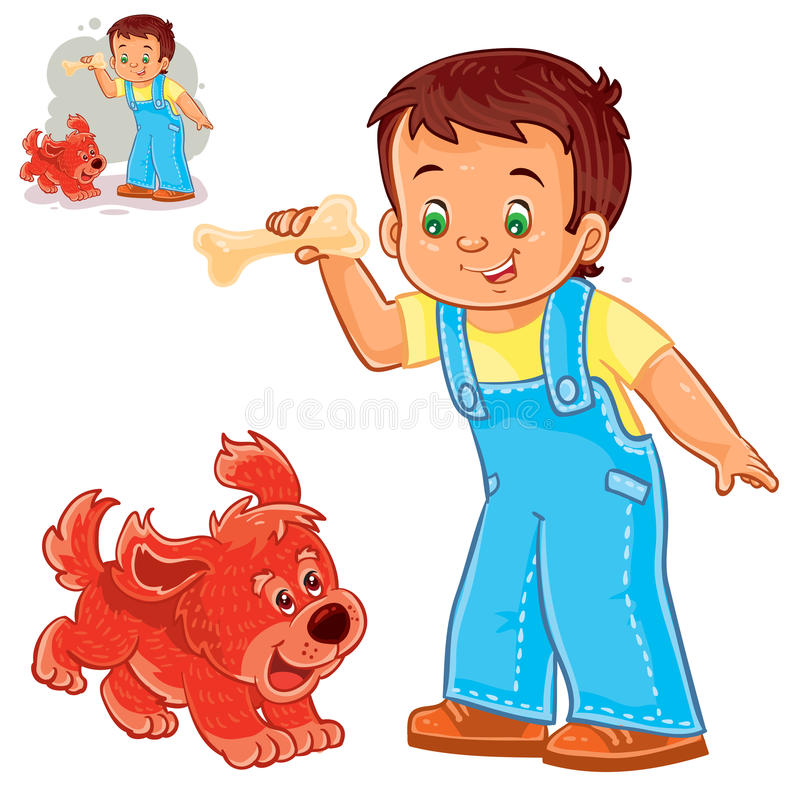Vector little boy holding a bone in his hand and playing with his puppy. royalty free illustration