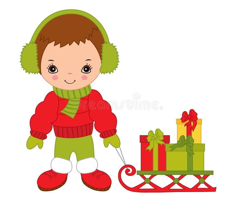 Vector Little Boy lindo con las cajas de regalo del trineo y de la Navidad ilustración del vector