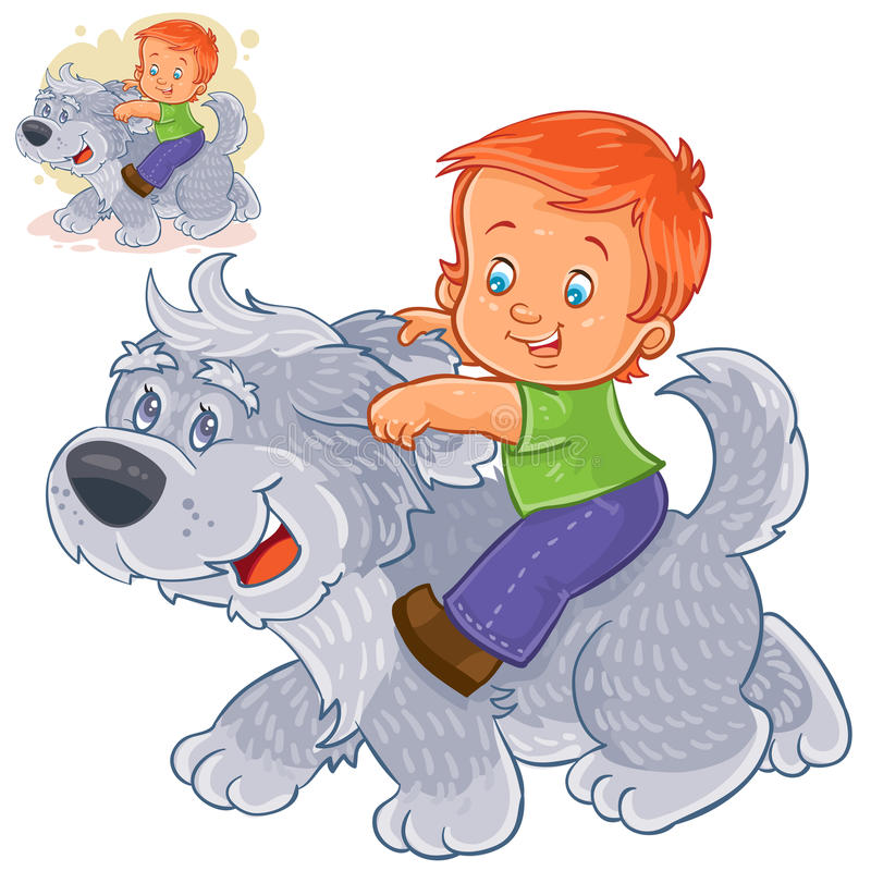 Vector little boy sitting on a big dog and holding on to his ears. vector illustration