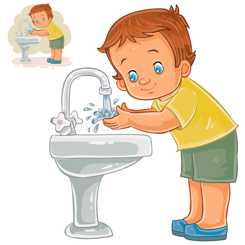 Vector little boy washes his hands with water from a tap stock illustration
