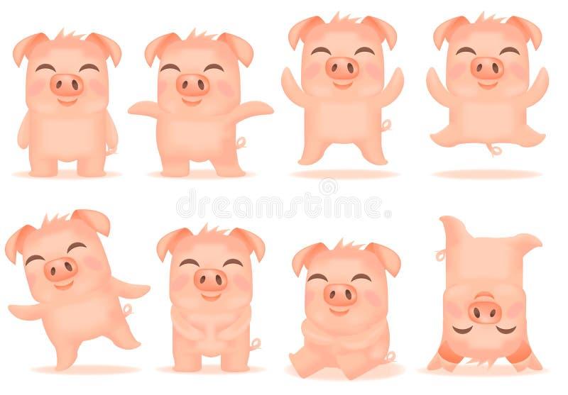 Vector little cartoon pigs characters. Vector little cartoon china pigs characters posing in different situations. Illustrations of set cute piggys. Piglet vector illustration