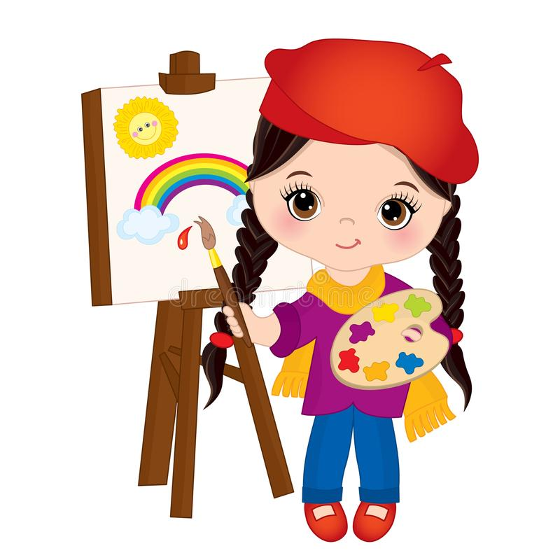 Vector Little Girl Paint on Easel. Little Artist Vector Illustration stock illustration