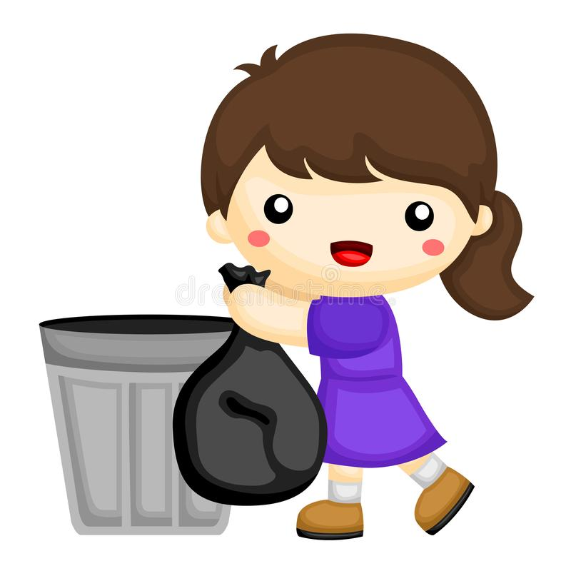 Little girl wearing purple dress throwing out the garbage stock illustration