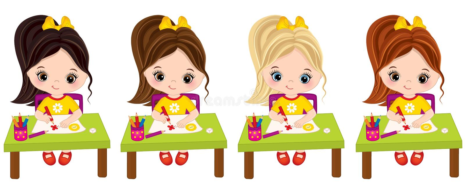 Vector Little Girls Draw. Vector Little Artists. Vector cute little girls draw. Vector little girls with various hair colors. Vector little girl. Little artists royalty free illustration