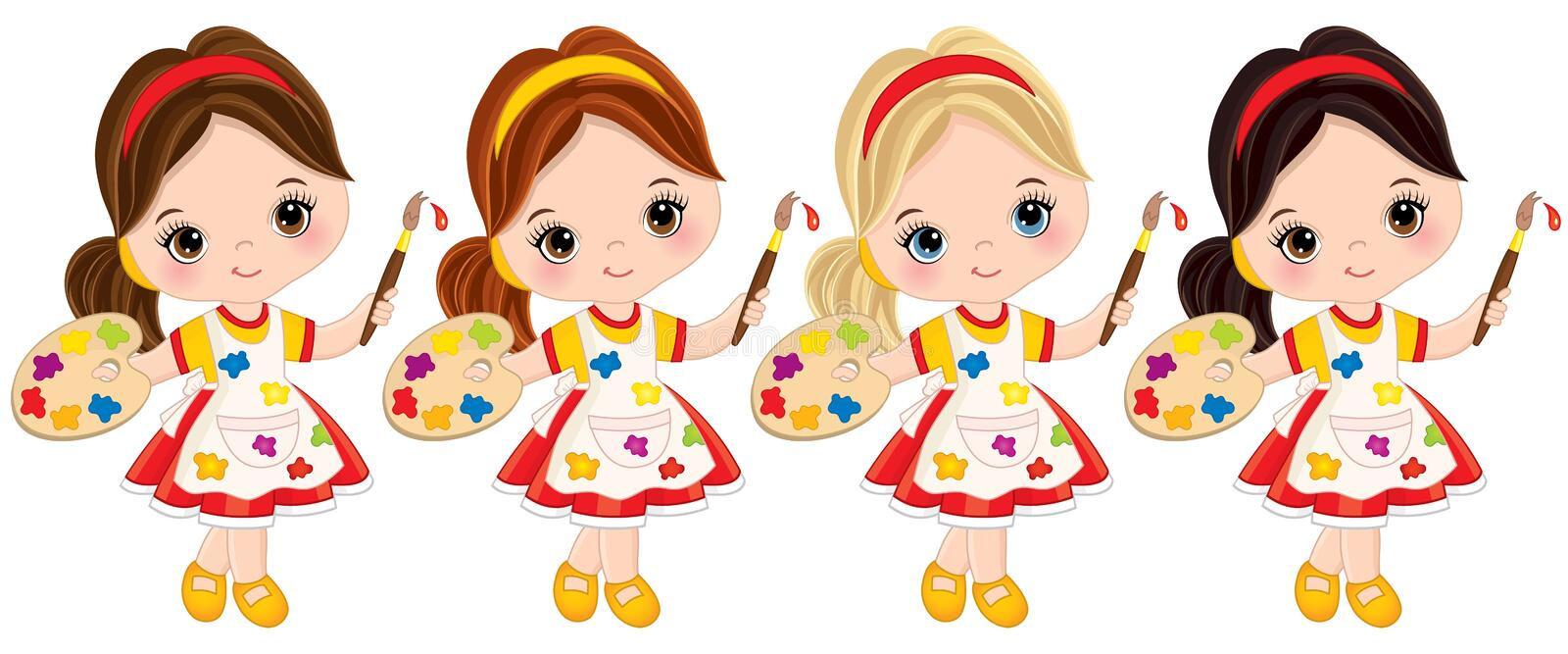 Vector Little Girls with Palette and Paint Brushes. Vector Little Artists stock illustration