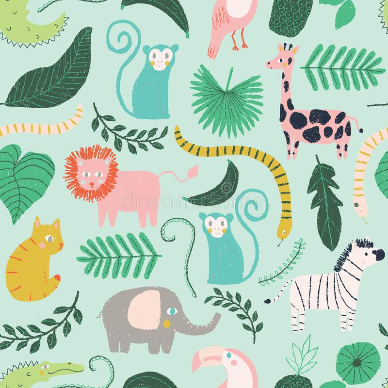 Vector little jungle animal seamless repeat background pattern stock illustration