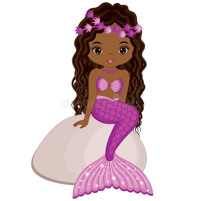 Vector little mermaid lindo que se sienta en piedra Sirena del afroamericano del vector libre illustration