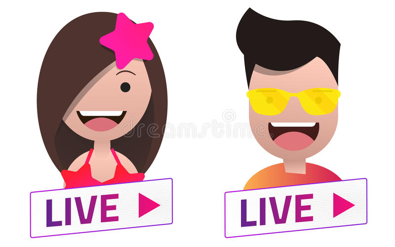 Live Stream Sign With Male And Female Avatar Set  Stock