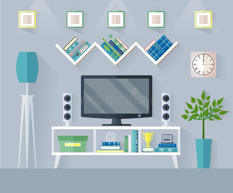 Vector living room with tv set. Design TV zone in a flat style. Interior living room with furniture, tv set and shelf. Vector illustration stock illustration