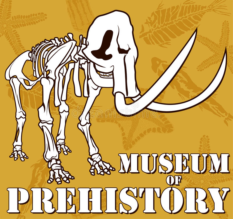 Vector lo scheletro del mammut sul museo del fondo della paleontologia di preistoria illustrazione vettoriale